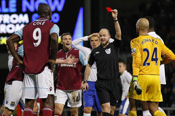 carlton cole gets his marching orders